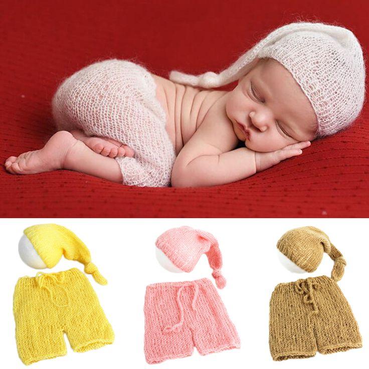 Weichen mohair neugeborenen fotografie requisiten kostüme kappe hut hosen 2 stücke set baby gestrickte