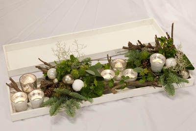 kerst workshops - kerststuk langwerpig op dienblad - christa snoek