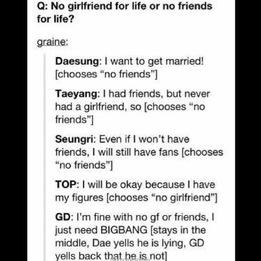 BIGBANG <3 G-Dragon's so Adorable! <3 Of course he's gonna choose BigBang.