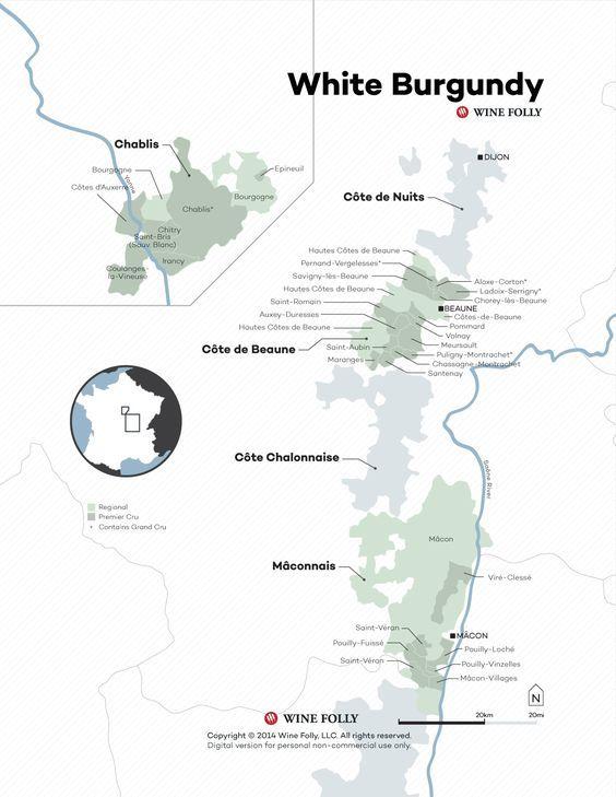 #France White #Burgundy #Wine Map  www.winewizard.co.za
