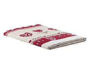 Telo copritutto matrimoniale in cotone Badia beige e rosso - 260X260 cm