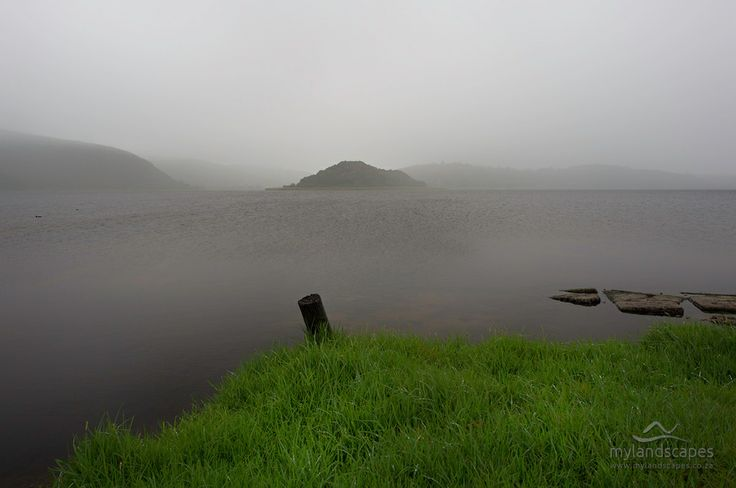 misty morning. island lake, near wilderness, garden route, south africa