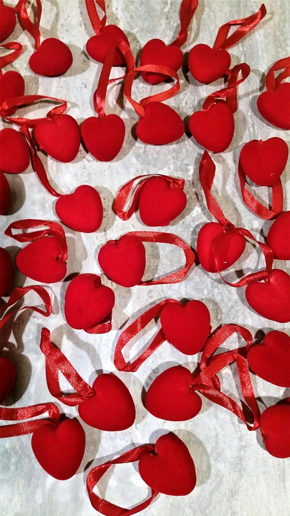 36 Velvet puffy styrofoam hearts on ribbon  gift basket
