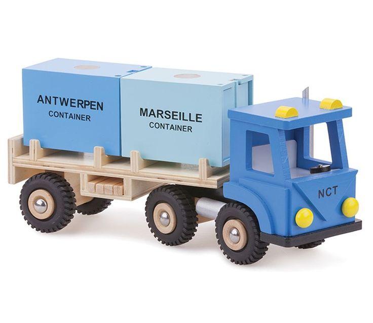 Lekebil i tre, blå lastebil med 2 kontainere