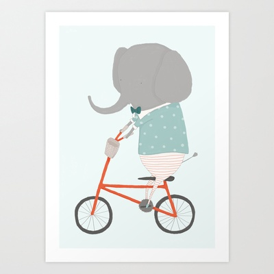 """So excited to share my first illustrated print! """"William Rides His Bicycle""""   Available in my Society6 Shop   Ez Pudewa / Creature Comforts"""