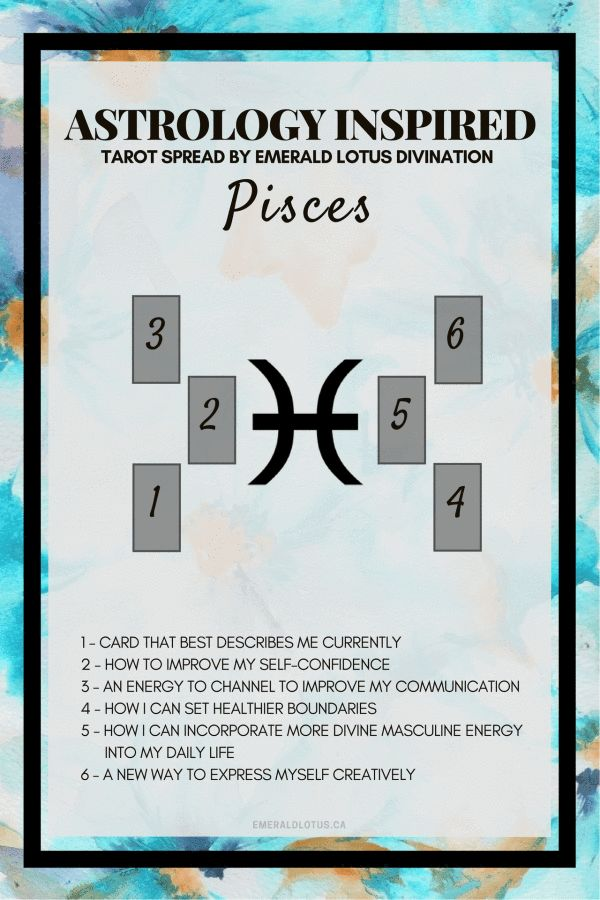Astrology inspired tarot spread for Pisces! Visit my website for all 12 zodiac signs