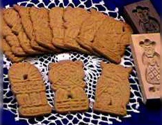 These cookies were originally made in wooden molds and given to children on Dec. 6, St. Nicholas Day (or in Dutch, Sinterklaas Day). They are crispy with a flavorful taste of cinnamon, nutmeg and cloves and imprinted with a traditional Dutch design.Speculaas