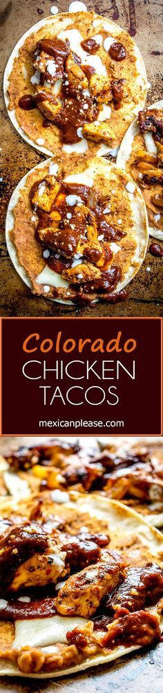 Ancho and New Mexican dried chilis create a delicious Colorado Sauce that's served up taco style with chipotle infused refried beans and grilled chicken.  So good!  http://mexicanplease.com