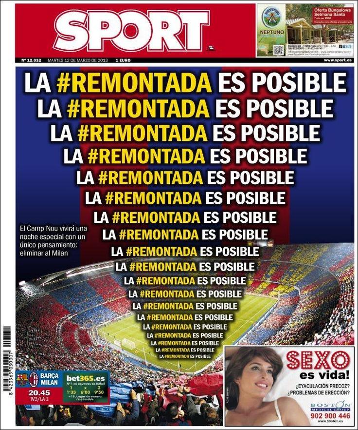 Los Titulares y Portadas de Noticias Destacadas Españolas del 12 de Marzo de 2013 del Diario Deportivo Sport ¿Que le pareció esta Portada de este Diario Español?