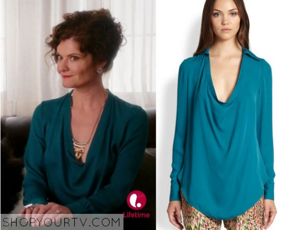 Devious Maids: Season 3 Episode 1 Evelyn's Teal Cowl Neck Blouse