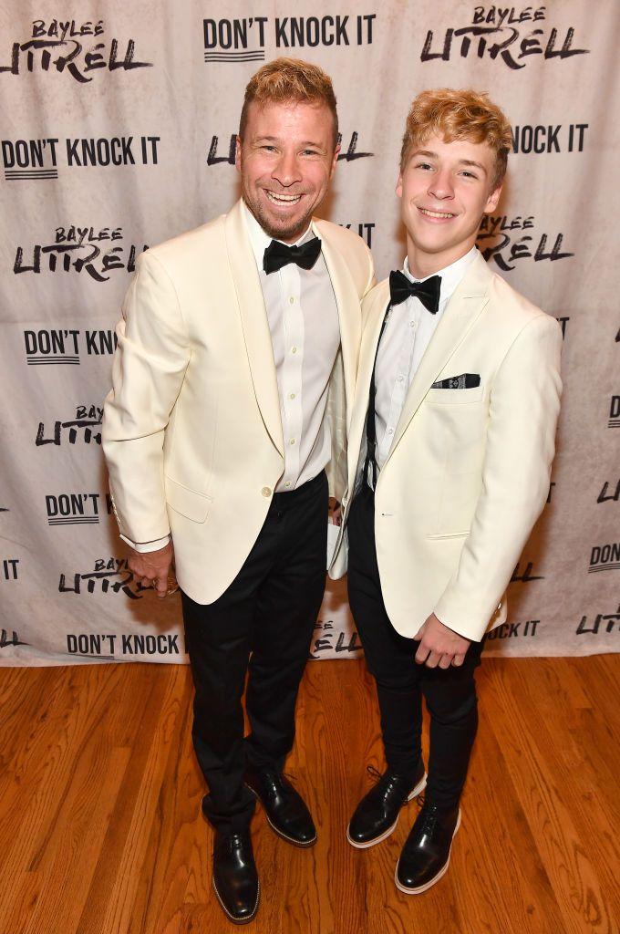 Singer Brian Littrell Of Backstreet Boys Pose With His Baylee Brian Littrell Backstreet Boys Boy Celebrities