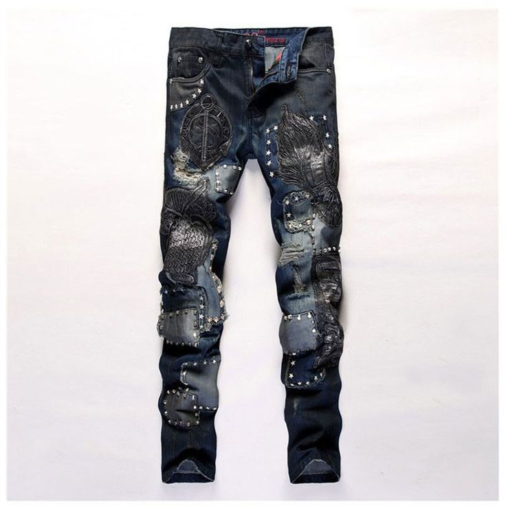Men's Jeans, Fashion Embroidered Patchwork Jeans, Ragged Jeans, Size 29-38