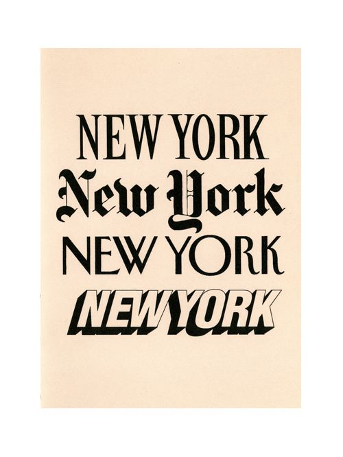 Composite of NYC newspaper logos by Mungo Thomson