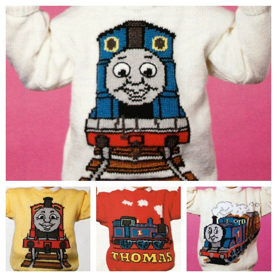 "Thomas the Tank Engine knitting pattern for sweaters to fit child to adult in dk or 4 ply yarn 4 designs up to 44"" chest"