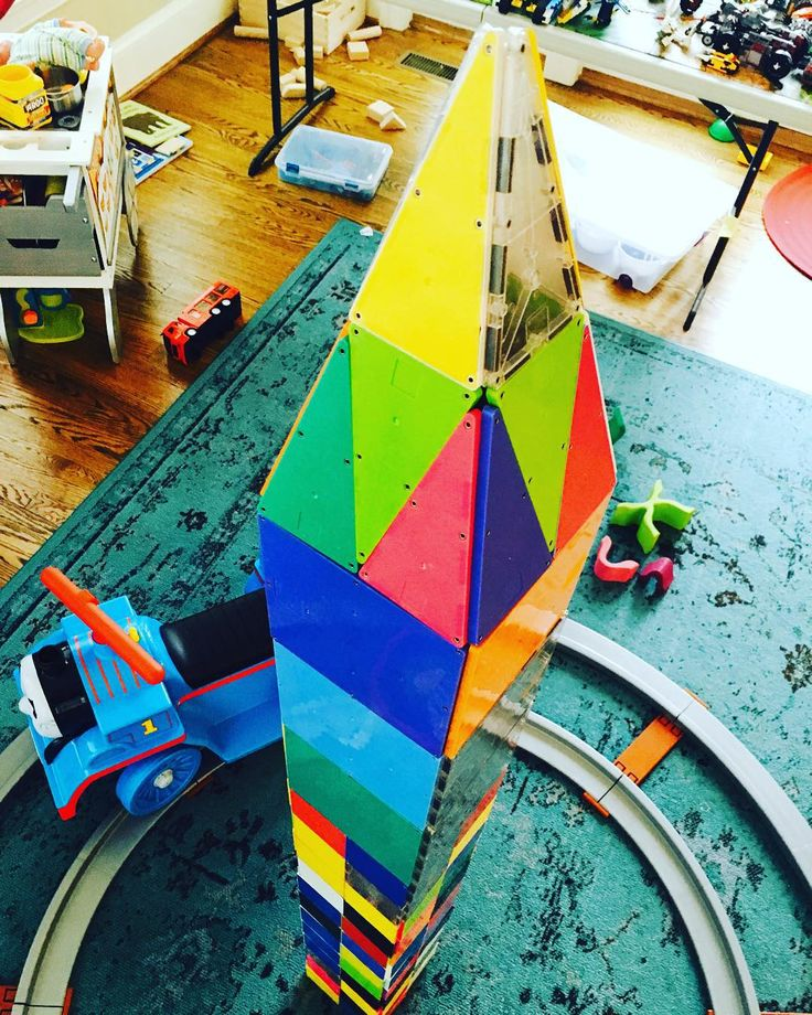 Colorful Magna Tiles Tower