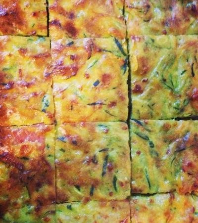 This zucchini slice is a healthy party food. You'll have to get in quick it won't last long.