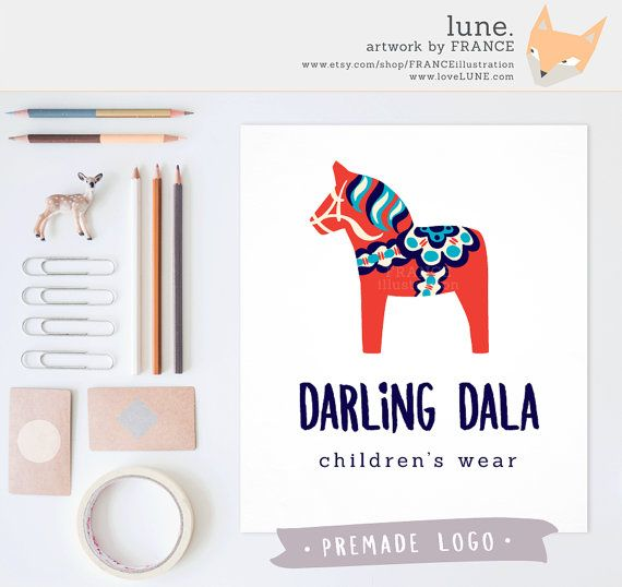 Premade Logo: Dala Horse. Customizable Color by FRANCEillustration
