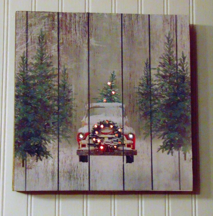 Handmade Christmas Sign, Wooden Christmas Sign, Vintage Red Truck Christmas Sign, Christmas Tree Truck Sign, Vintage Red Truck with Tree by TreesHolidayToday on Etsy