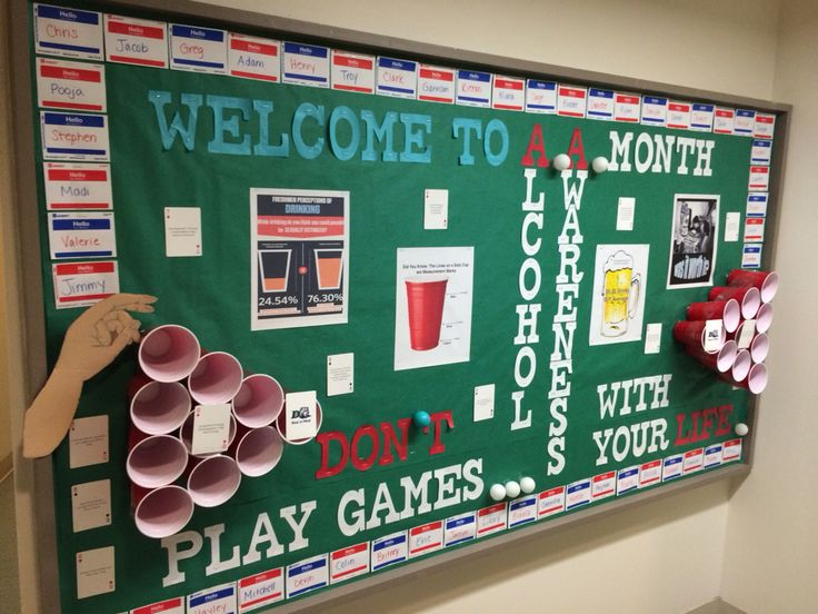 "Alcohol awareness month bulletin board! The resident names line the outside on ""hello my name is"" stickers! So much fun (and simple) to make!!"