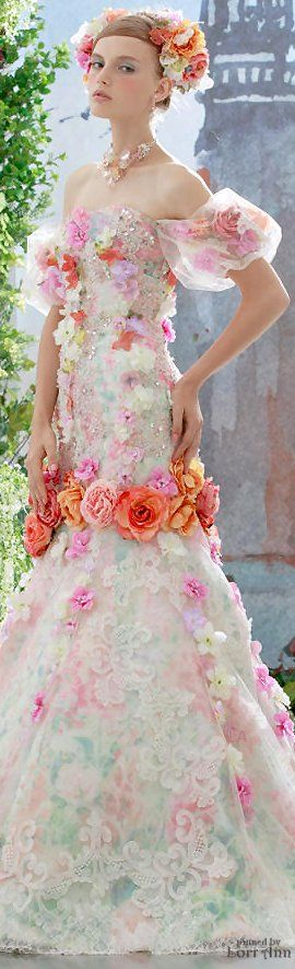 Stella de Libero colorful wedding dress, floral wedding dress, romantic wedding…