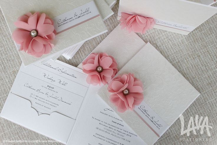 Infinity pink chiffon wedding invitation by www.lavastationery.com.au