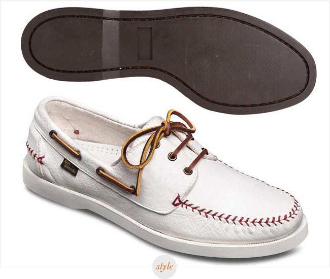 Allen Edmonds White Baseball Boat Shoes