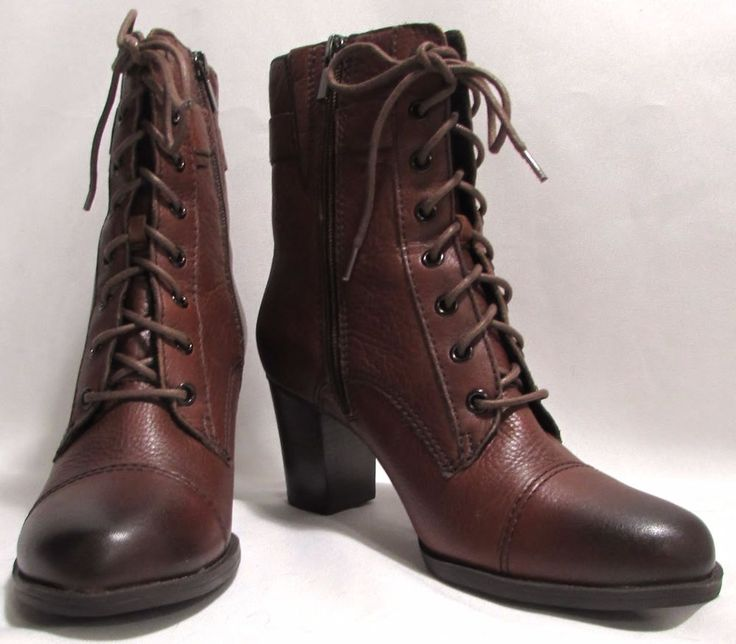 NEW Womens Ladies CLARKS Brown Leather Lace Front Zip Ankle Heel Boots 9 M #Clarks #AnkleBoots #Versatile