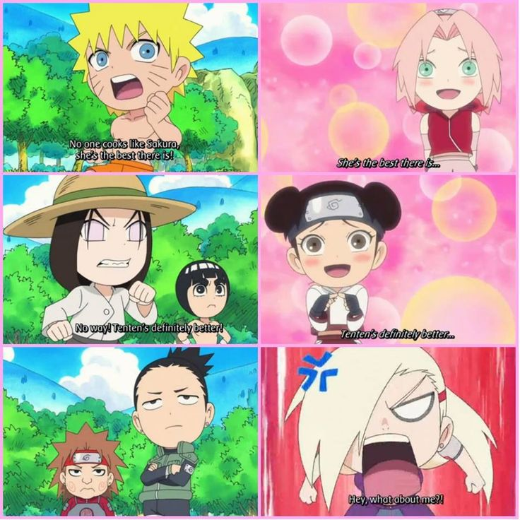 Anime/manga: Naruto (Shippuden) Rock Lee and his Friends Characters: Naruto, sakura, Neji, Lee, Tenten, Choji, Shikamaru, and Ino, poor Ino...