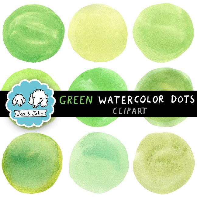 Clip Art: Green Watercolor Dots / Circles for Personal and Commercial Use $