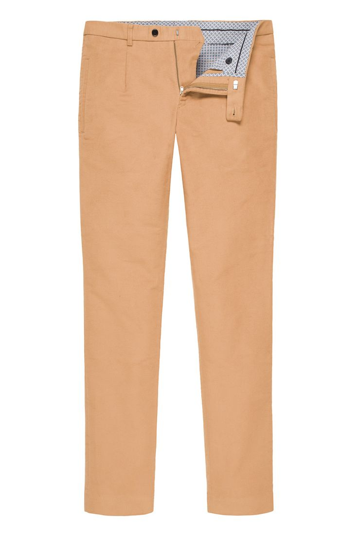 Camel Moleskin Trousers with one fron fold, inner waistband, classic slim fit or regular available