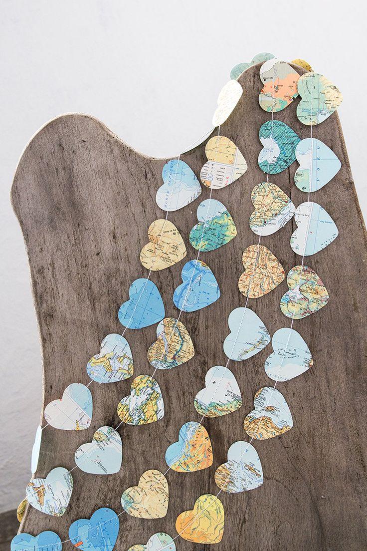 Paper garland bunting wedding garland decor heart by PaperNotebook, $8.00