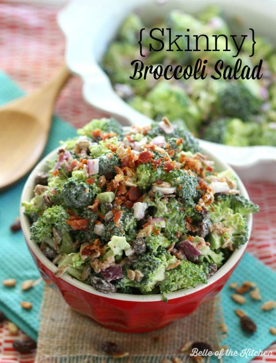 Skinny Broccoli Salad | Belle of the Kitchen Using Greek yogurt, sunflower kernels, cranrisins, bacon etc.