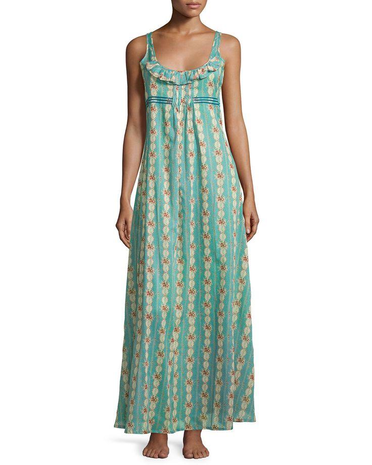Circe Floral-Print Long Gown, Blue, Women's, Size: L, Blue Floral - La Costa