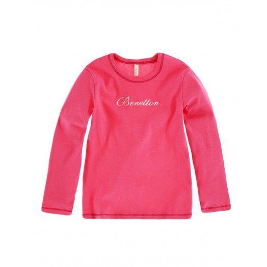 T-shirt maniche lunghe, girocollo in morbido cotone con stampa glitter sul davanti. 17,95