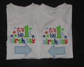 Twin Boys Birthday Shirt It's His First Birthday with Arrow
