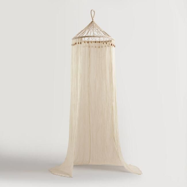 Boho Sheer Cotton Macrame Canopy - v1