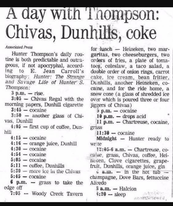 Image result for hunter s thompson schedule