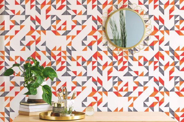 Red And White Triangle Peel And Stick Wallpaper Geometric Wallpaper Wallpaper Peel And Stick Wallpaper