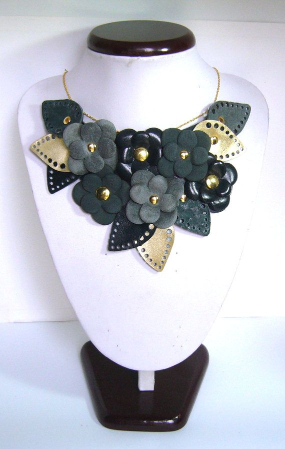 Leather necklace with dark blue, cadet blue, grey  and gold flowers and leaves - statement necklace – leather collar handmade in italy