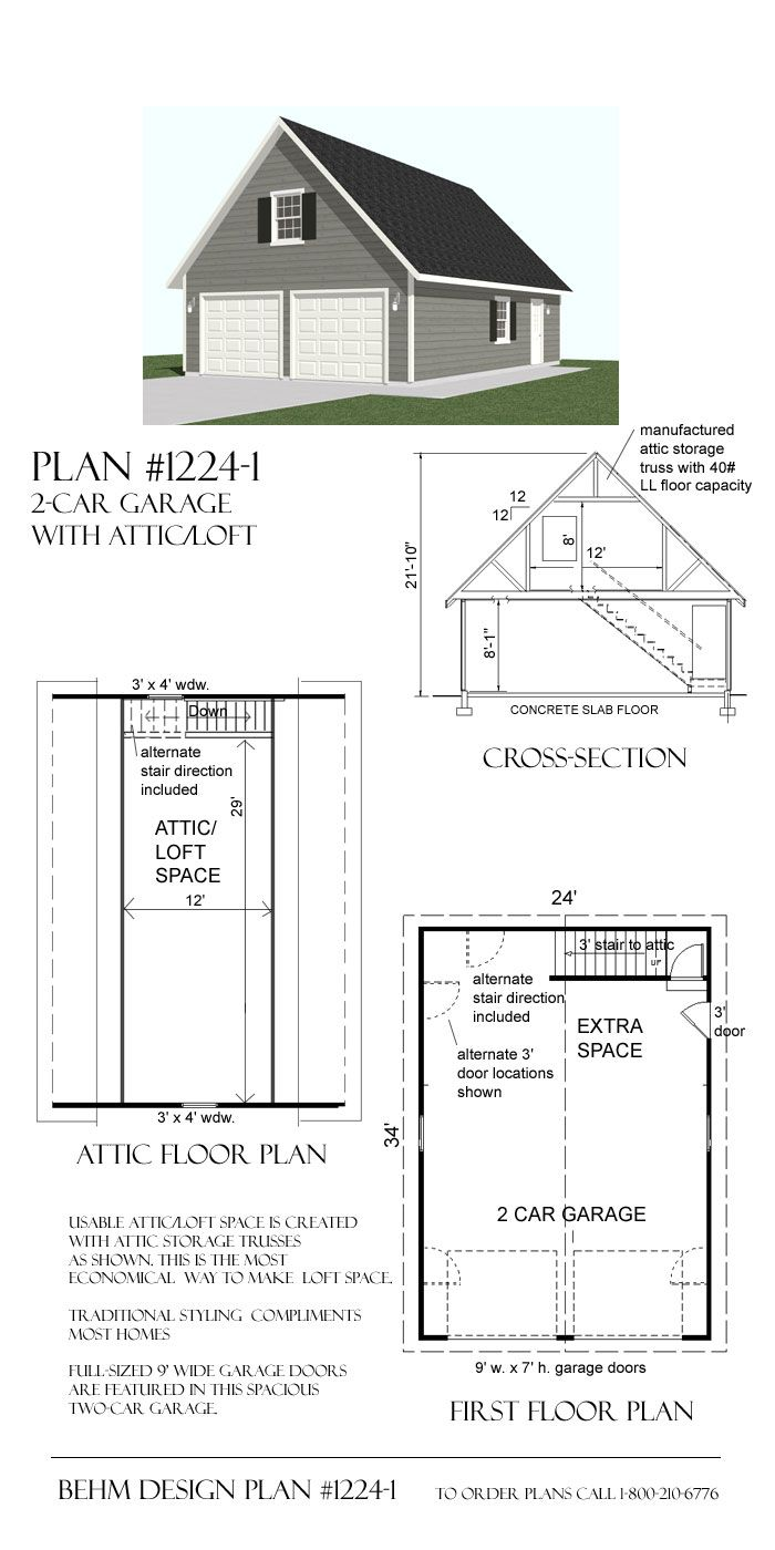 24' x 34' garage With Loft Plan by Behm Design uses attic trusses to create second story loft space accessed by inside stairway along rear wall.