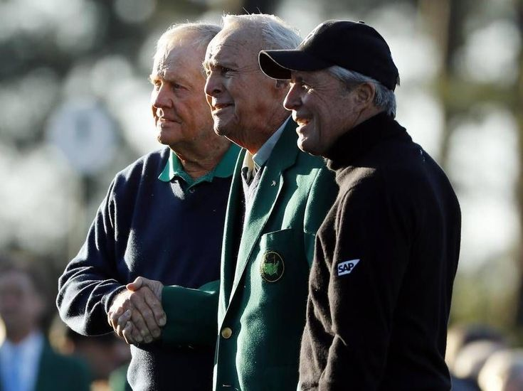 From left, Jack Nicklaus, Arnold Palmer and Gary Player pose during the ceremonial first tee before the first round of the Masters golf tournament Thursday, April 7, 2016, in Augusta, Ga. Golfing legend Arnold Palmer has died at the age of 87. #PlayABetterGolfGame #PlayingABetterGolfGame