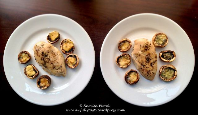 Roasted tarragon chicken breast served with stuffed mushrooms with blue cheese.