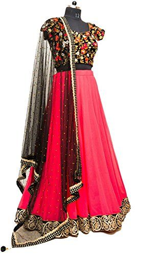 Khazanakart Attractive Rose Pink Net Fabric Designer Lehe…