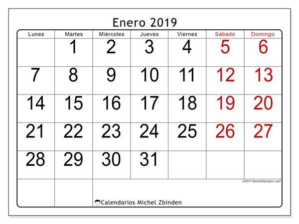 Calendario De Septiembre 2019 Para Imprimir Animado.Calendario Enero 2019 62ld Unohigado Calendario Para