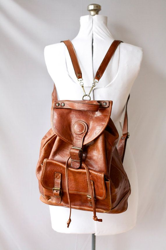 Vintage Backpack  Brown Leather Satchel. I wannnnnt<3