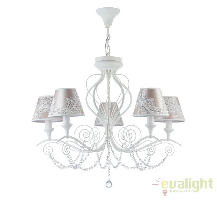 Candelabru elegant cu 5 brate, 2 in 1, Lucy MYARM042-05-W - Corpuri de iluminat, lustre, aplice