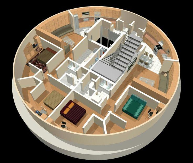 2 half units luxury condo bunker floor plan doomsday for Silo home floor plans