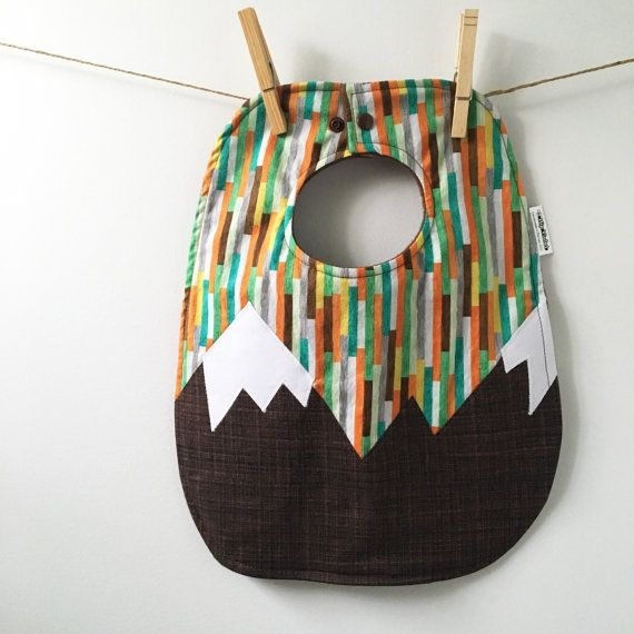 Mountain Baby Gift  Baby Bib with Snaps  Colorado Baby Bib