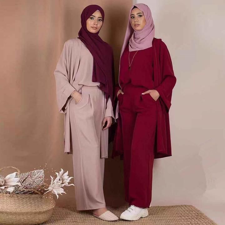 Abaya Jilbab Muslim Women/'s Tops+Pants Set Islamic Cocktail Maxi Clothing Kaftan