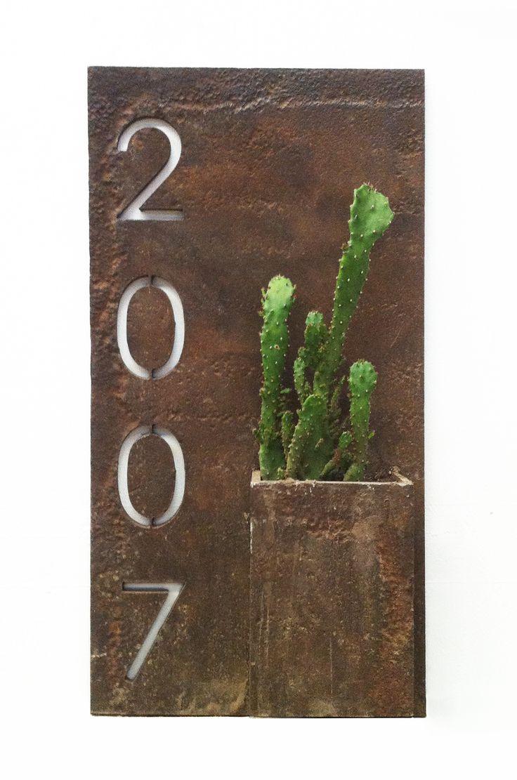 numero, casa, numeración, cactus, macetero, ironpig
